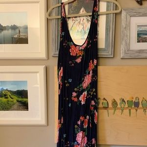 Free People Navy Floral Maxi Slip Dress S